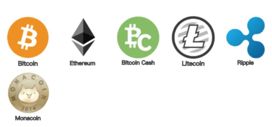 取り扱い通貨一覧